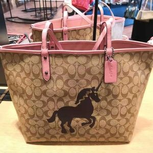 COACH Reversible City Tote With Unicorn